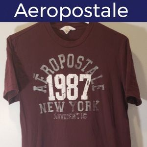 ♦️Aeropostale Short Sleeve T-Shirt-Maroon-XL
